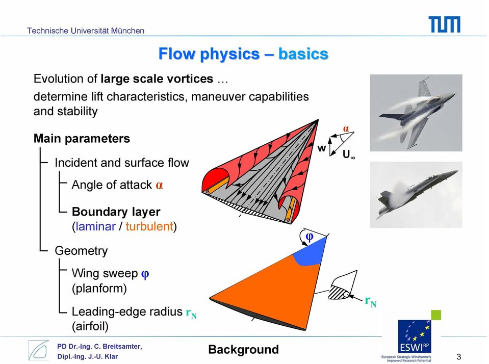 and surface flow Angle of attack α w α U Boundary layer (laminar / turbulent)