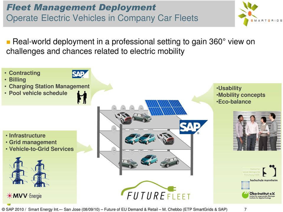 concepts Eco-balance Infrastructure Grid management Vehicle-to-Grid Services SAP 2010 / SAP Smart 2009 Energy / SmartGrids Int.