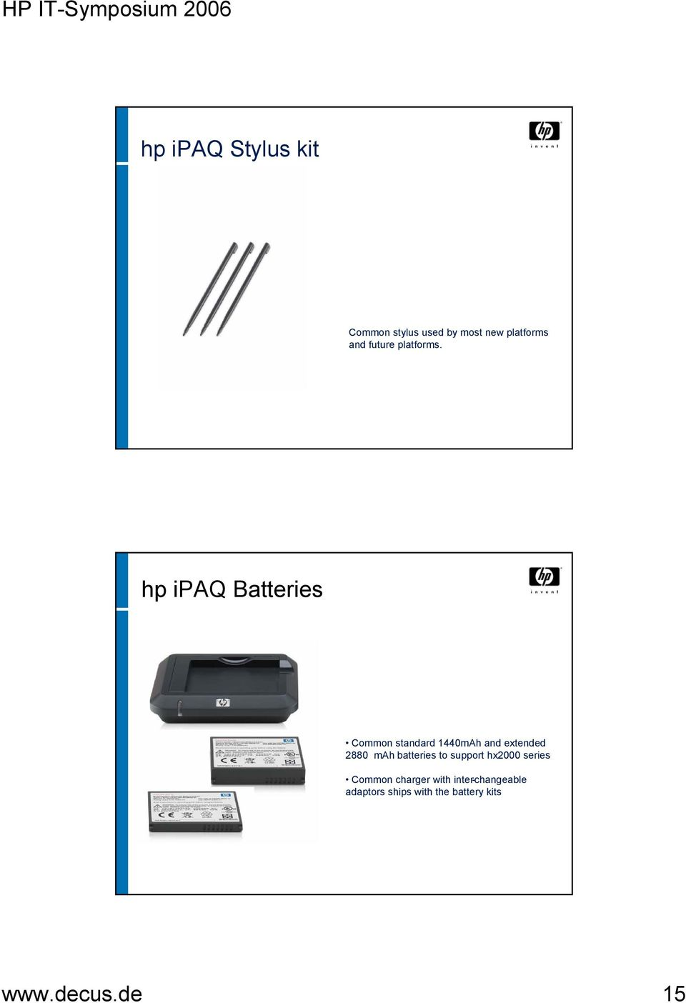 hp ipaq Batteries Common standard 1440mAh and extended 2880 mah