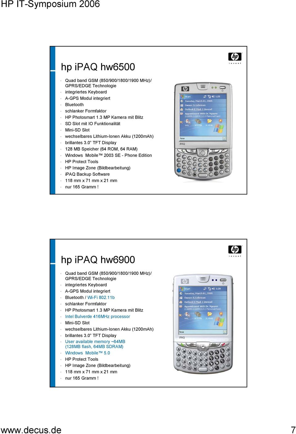 0 TFT Display 128 MB Speicher (64 ROM, 64 RAM) Windows Mobile 2003 SE - Phone Edition HP Protect Tools HP Image Zone (Bildbearbeitung) ipaq Backup Software 118 mm x 71 mm x 21 mm nur 165 Gramm!