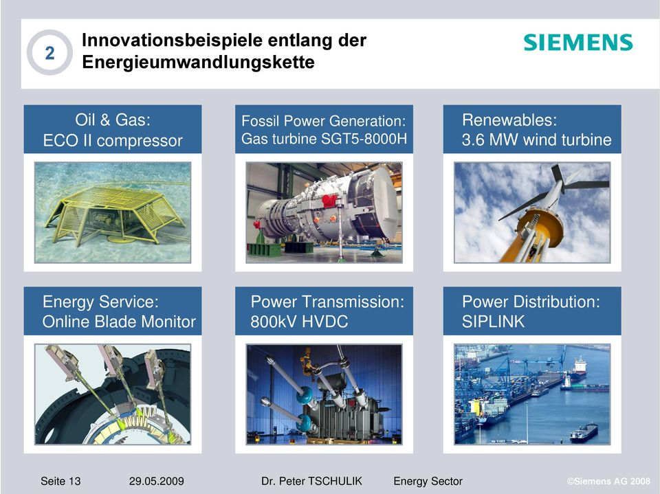 6 MW wind turbine Energy Service: Online Blade Monitor Power Transmission:
