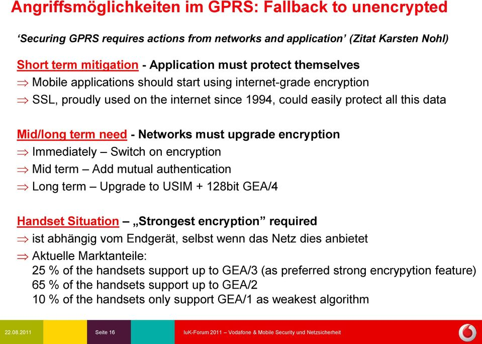 Immediately Switch on encryption Mid term Add mutual authentication Long term Upgrade to USIM + 128bit GEA/4 Handset Situation Strongest encryption required ist abhängig vom Endgerät, selbst wenn das