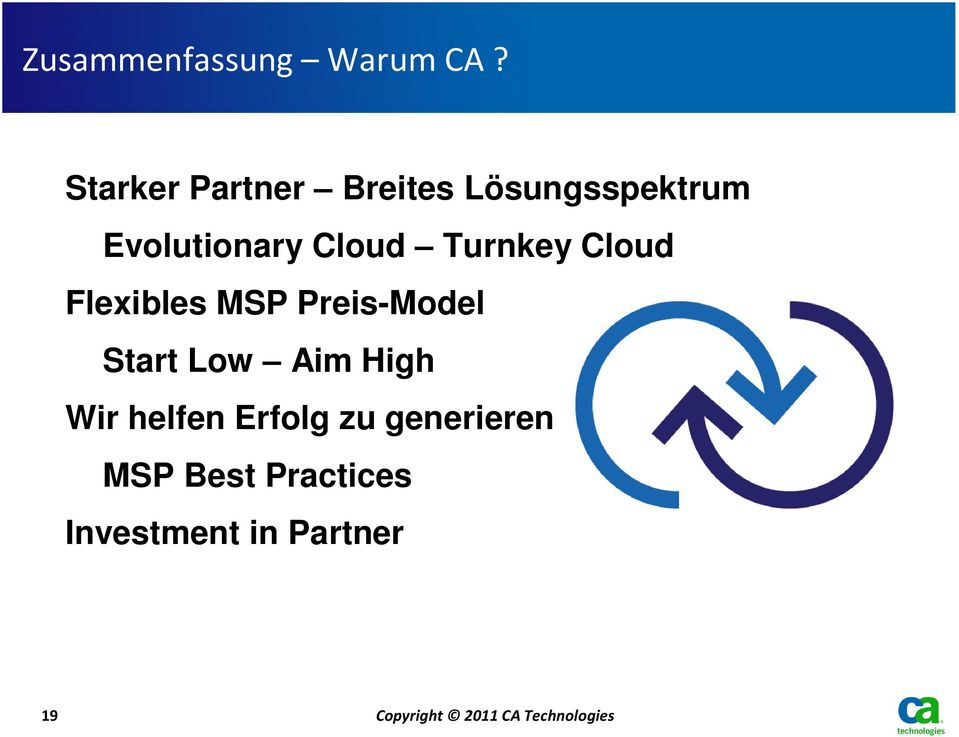Turnkey Cloud Flexibles MSP Preis-Model Start Low Aim High Wir