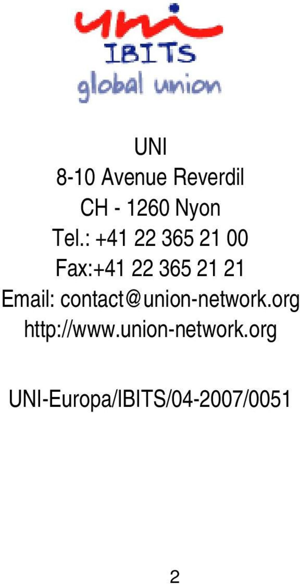 Email: contact@union-network.org http://www.
