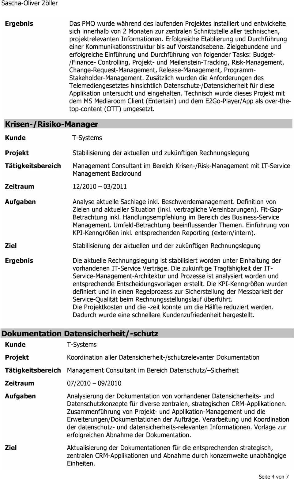 gebundene und erfolgreiche Einführung und Durchführung von folgender Tasks: Budget- /Finance- Controlling, - und Meilenstein-Tracking, Risk-Management, Change-Request-Management, Release-Management,
