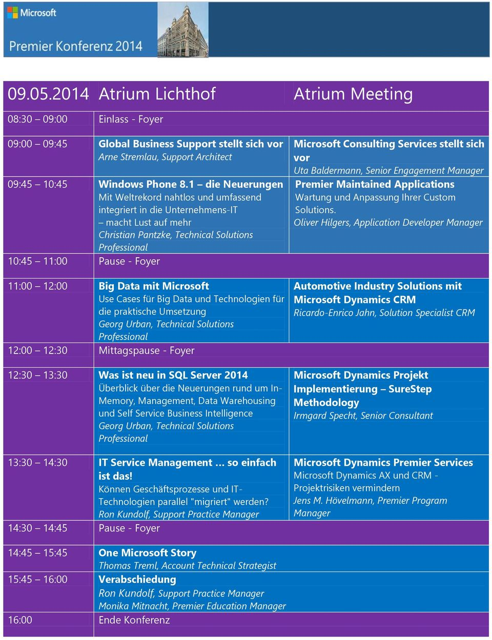 Use Cases für Big Data und Technologien für die praktische Umsetzung Georg Urban, Technical Solutions 12:00 12:30 Mittagspause - Foyer 12:30 13:30 Was ist neu in SQL Server 2014 Überblick über die