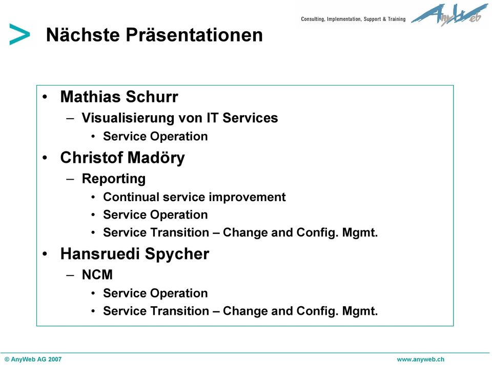 improvement Service Operation Service Transition Change and Config.