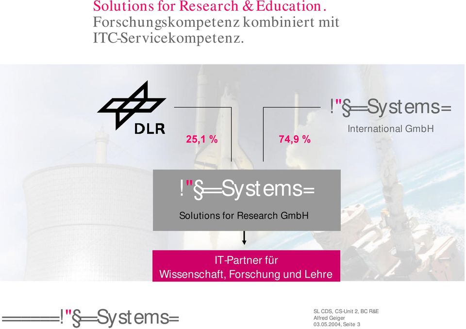 "25,1 % 74,9 %!"" ==Systems= International GmbH!"