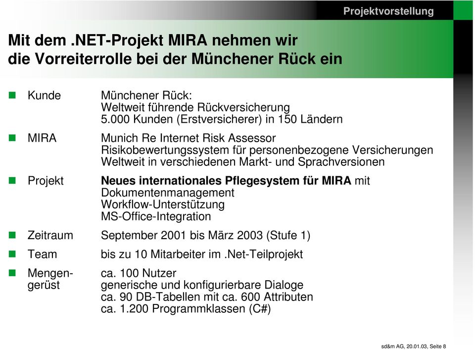 Sprachversionen Neues internationales Pflegesystem für MIRA mit Dokumentenmanagement Workflow-Unterstützung MS-Office-Integration Zeitraum September 2001 bis März 2003 (Stufe 1) Team