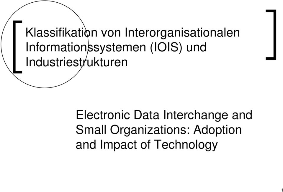 Industriestrukturen Electronic Data