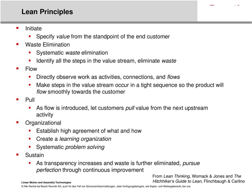 introduced, let customers pull value from the next upstream activity Organizational Establish high agreement of what and how Create a learning organization Systematic problem solving Sustain