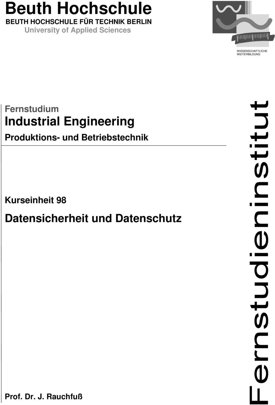 WEITERBILDUNG Fernstudium Industrial Engineering