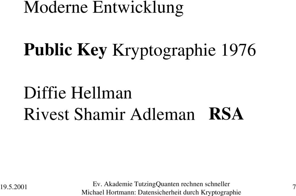 Kryptographie 1976
