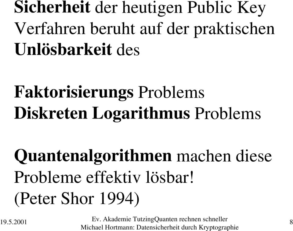 Problems Diskreten Logarithmus Problems