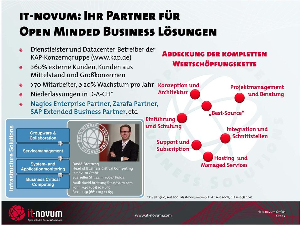 Partner, etc. Groupware & Collaboration Servicemanagement System- and Applicationmonitoring Business Critical Computing David Breitung Head of Business Critical Computing it-novum GmbH Edelzeller Str.