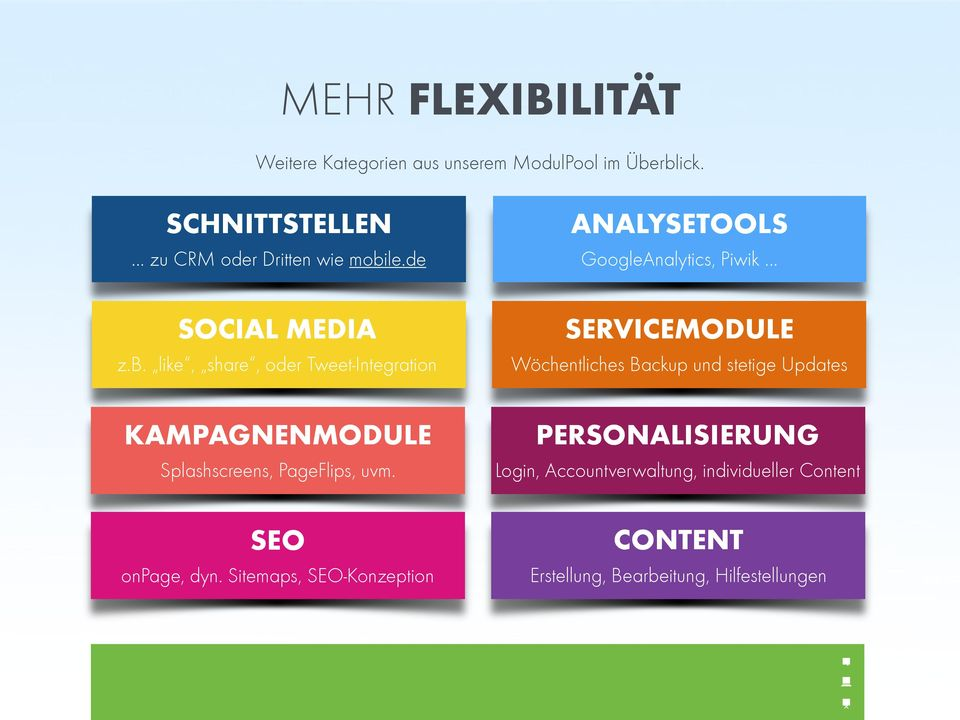 le.de SOCIAL MEDIA z.b. like, share, oder Tweet-Integration KAMPAGNENMODULE Splashscreens, PageFlips, uvm.