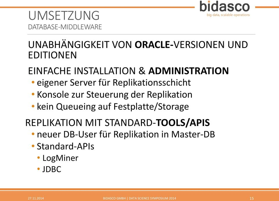 Replikation kein Queueing auf Festplatte/Storage REPLIKATION MIT STANDARD-TOOLS/APIS neuer DB-User