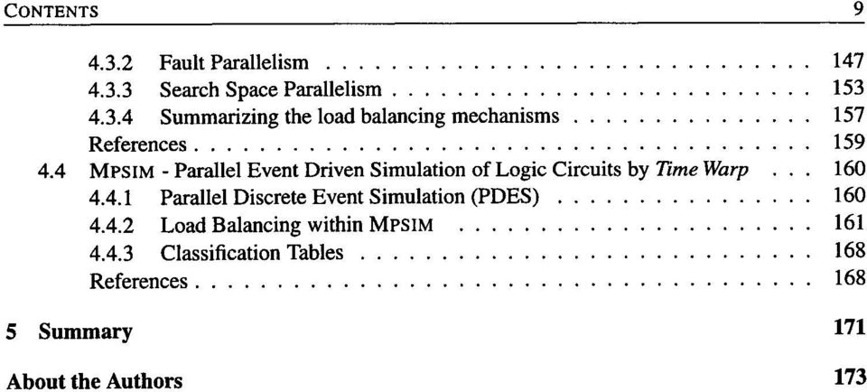 4.2 Load Balancing within MpSIM 161 4.4.3 Classification Tables 168 References.