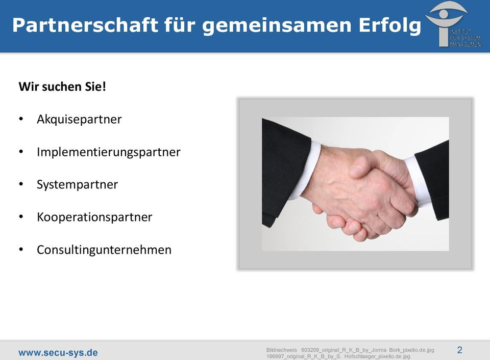 Kooperationspartner Consultingunternehmen www.secu-sys.