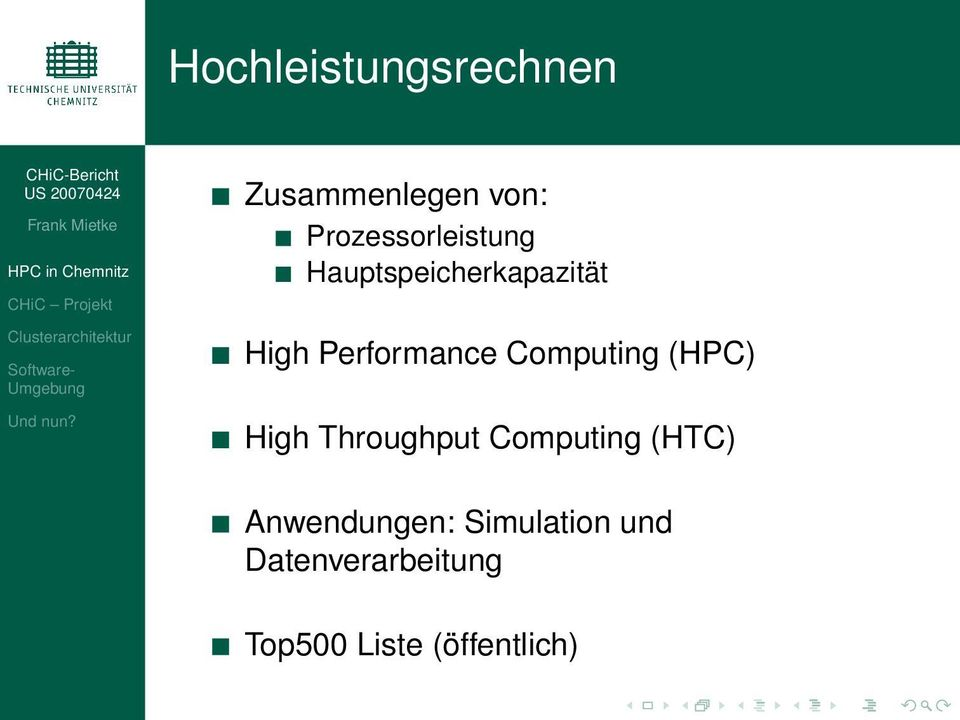 Performance Computing (HPC) High Throughput Computing