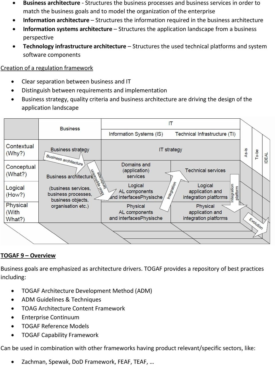 architecture Structures the used technical platforms and system software components Creation of a regulation framework Clear separation between business and IT Distinguish between requirements and