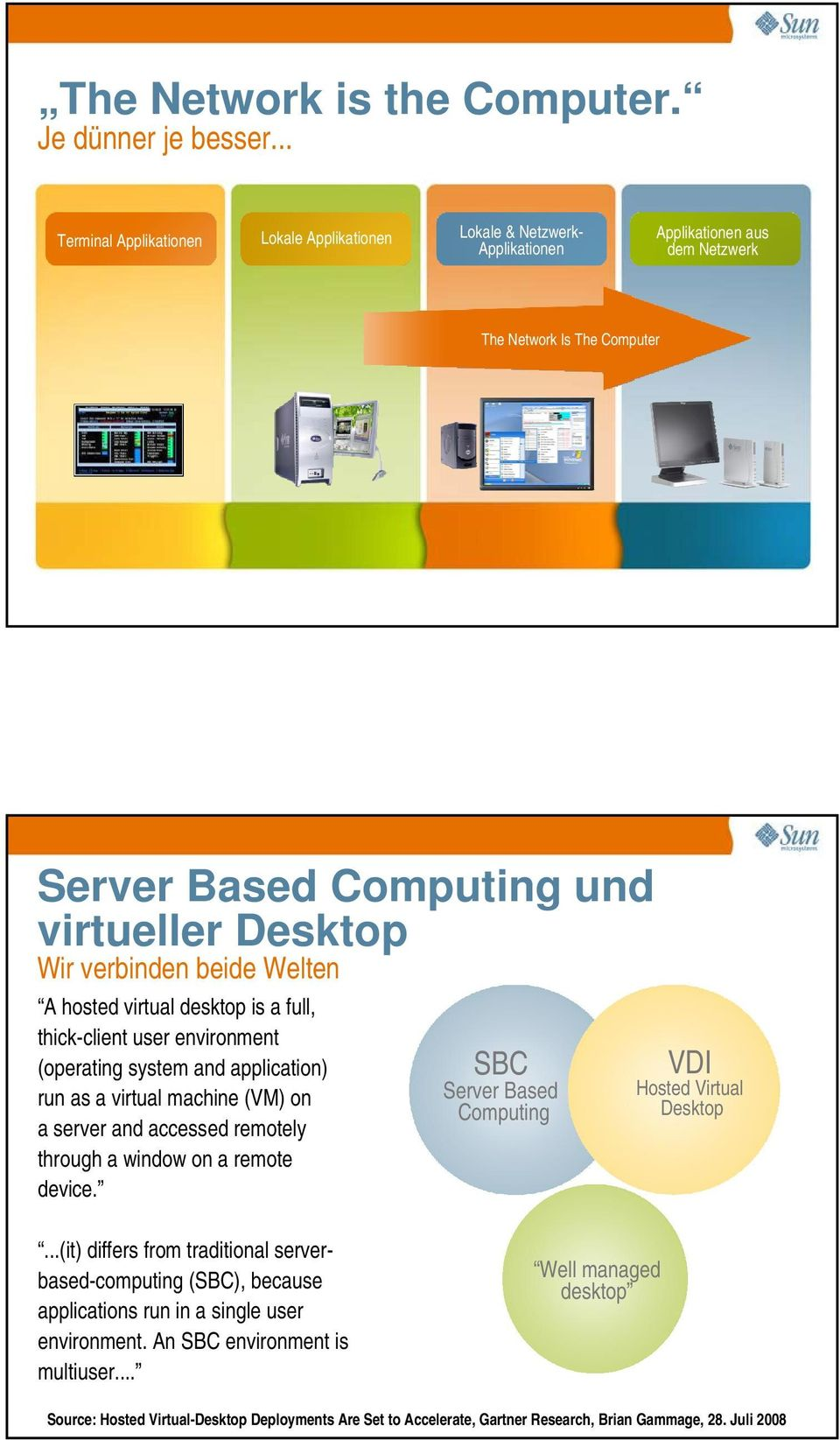 beide Welten A hosted virtual desktop is a full, thick-client user environment (operating system and application) run as a virtual machine (VM) on a server and accessed remotely through a window on a