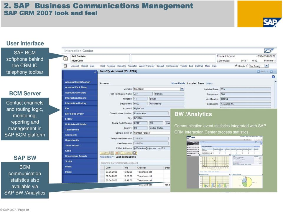 management in SAP BCM platform BW /Analytics Communication event statistics integrated with SAP CRM
