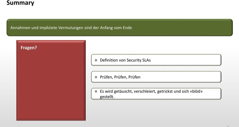 Definition von Security SLAs Prüfen, Prüfen,
