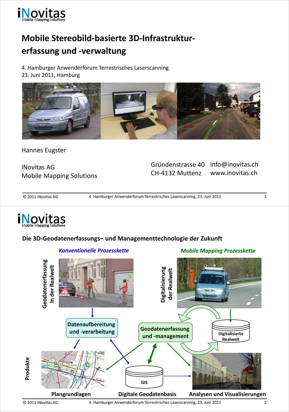 AG Mobile Mapping Solutions Gründenstrasse 40 CH 4132 Muttenz info@inovitas.