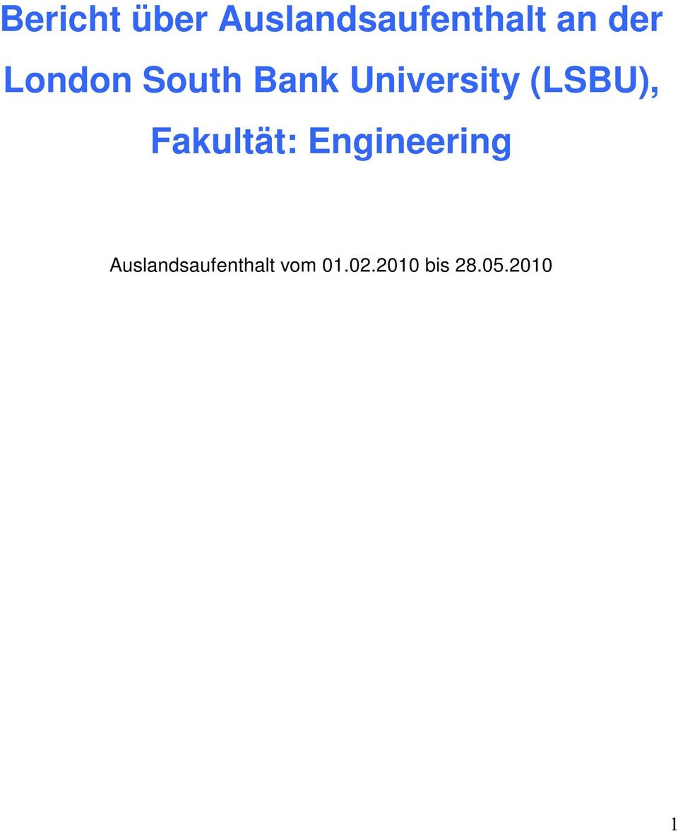 (LSBU), Fakultät: Engineering