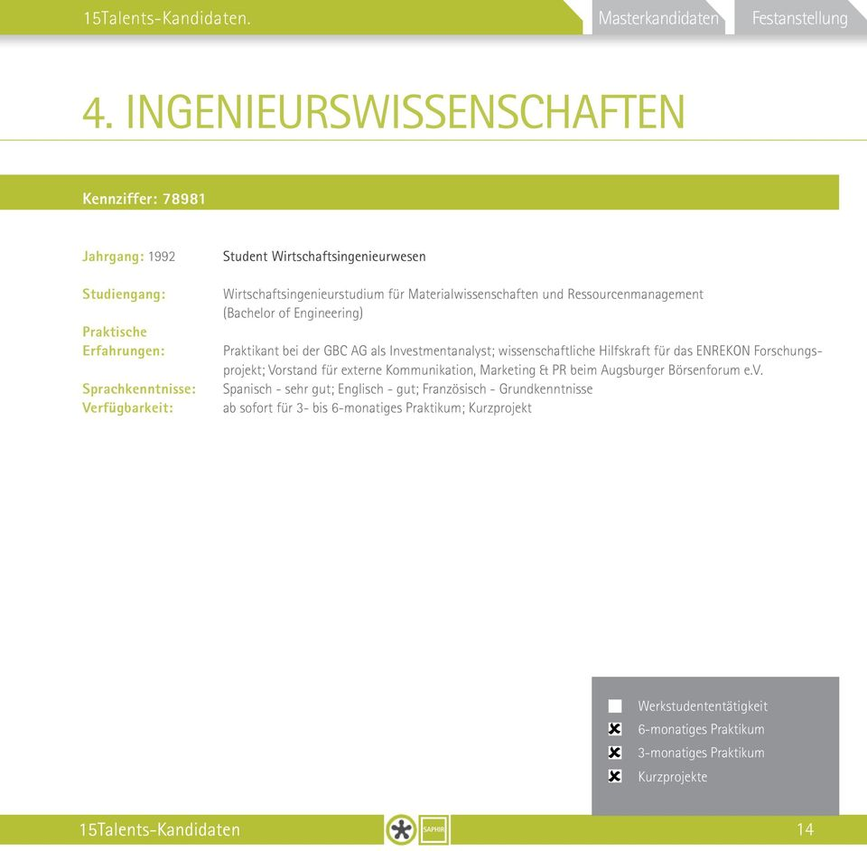 Materialwissenschaften und Ressourcenmanagement (Bachelor of Engineering) Praktikant bei der GBC AG als Investmentanalyst;