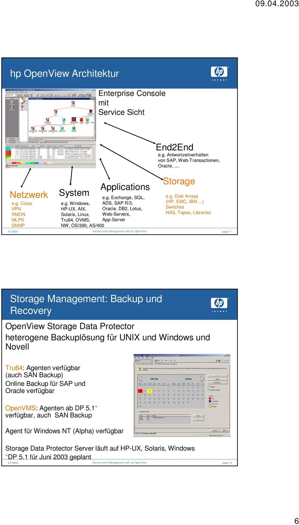 ..) Switches NAS, Tapes, Libraries page 11 Storage Management: Backup und Recovery OpenView Storage Data Protector heterogene Backuplösung für UNIX und Windows und Novell Tru64: Agenten verfügbar