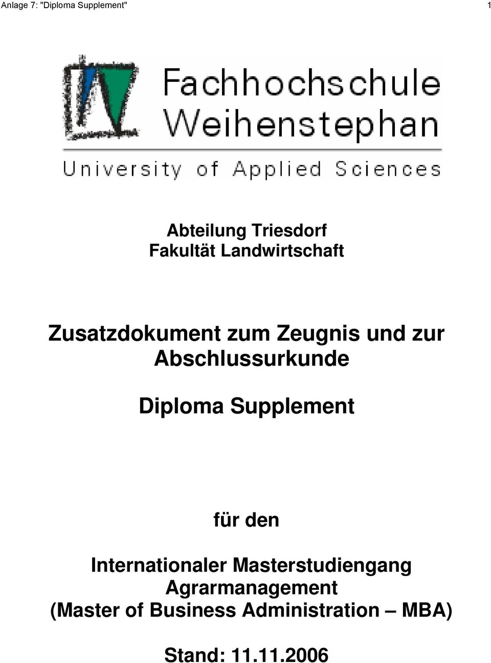 Abschlussurkunde Diploma Supplement für den Internationaler