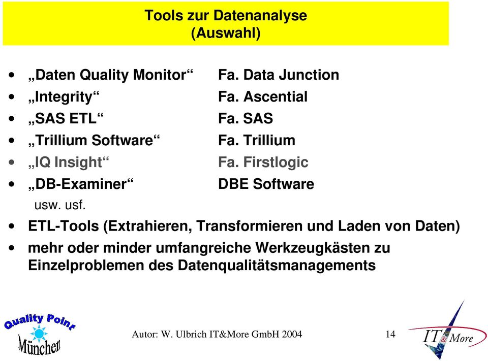 Firstlogic DB-Examiner DBE Software usw. usf.