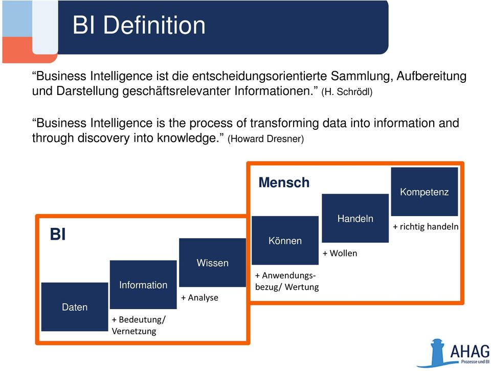 Schrödl) Business Intelligence is the process of transforming data into information and through discovery