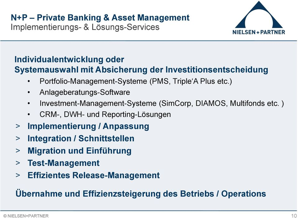 ) Anlageberatungs-Software Investment-Management-Systeme (SimCorp, DIAMOS, Multifonds etc.