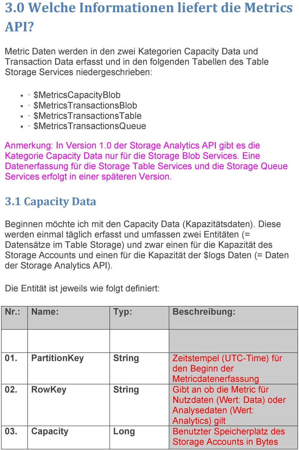 $MetricsTransactionsBlob $MetricsTransactionsTable $MetricsTransactionsQueue Anmerkung: In Version 1.0 der Storage Analytics API gibt es die Kategorie Capacity Data nur für die Storage Blob Services.