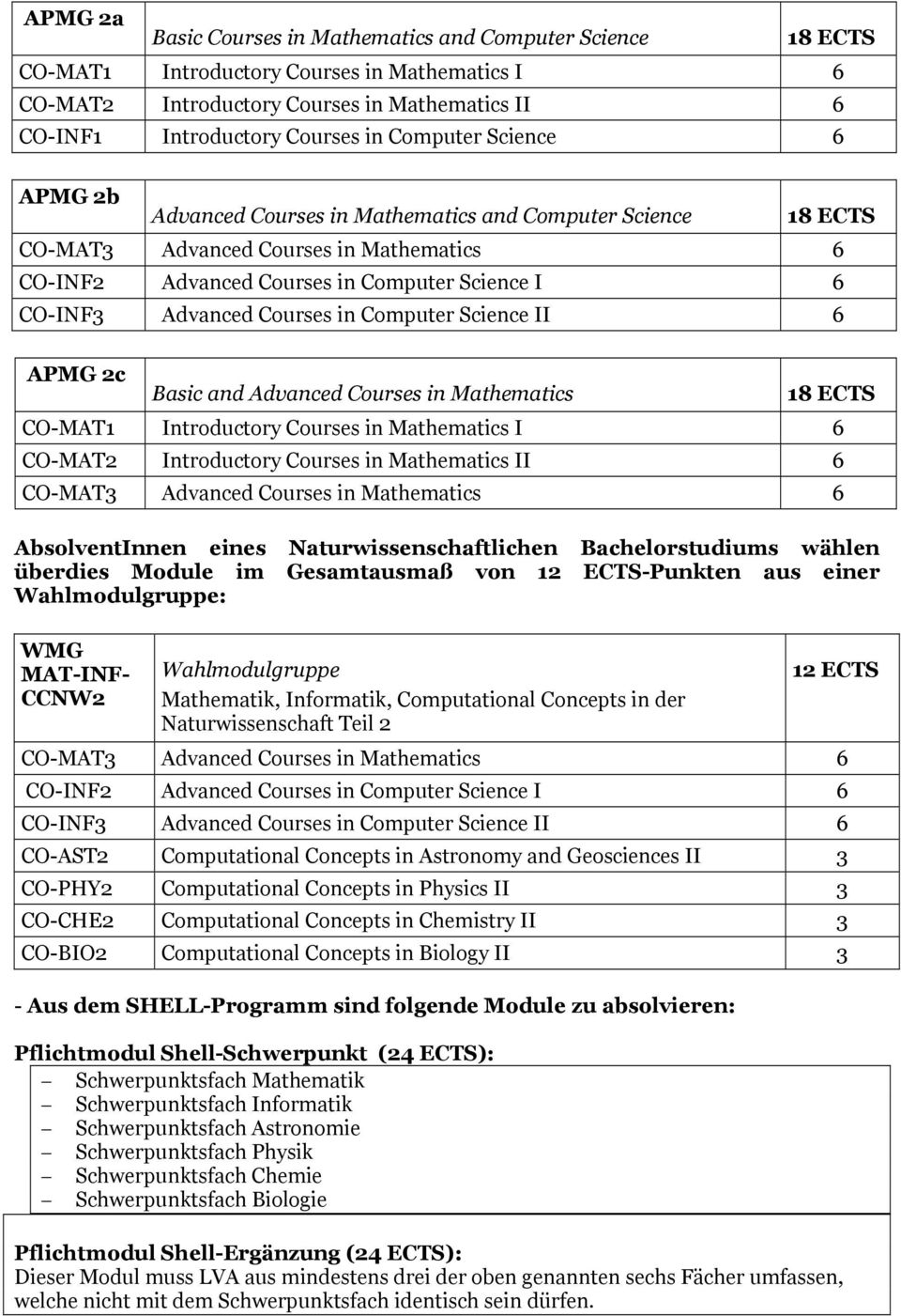 Courses in Computer Science II 6 APMG 2c Basic and Advanced Courses in Mathematics 18 ECTS CO-MAT1 Introductory Courses in Mathematics I 6 CO-MAT2 Introductory Courses in Mathematics II 6 CO-MAT3
