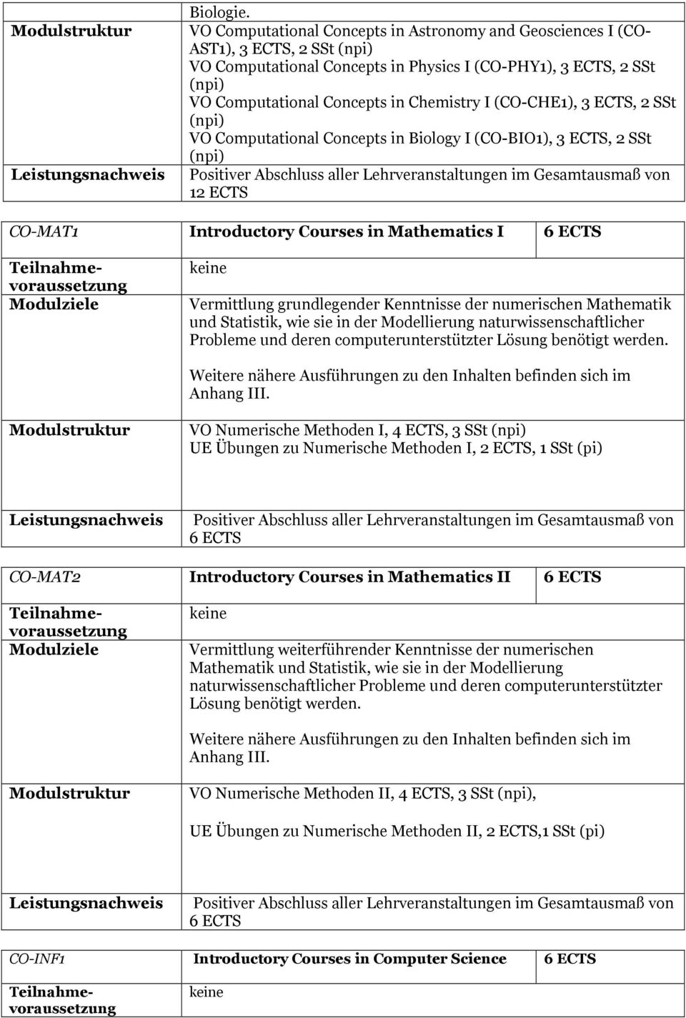 (CO-CHE1), 3 ECTS, 2 SSt (npi) VO Computational Concepts in Biology I (CO-BIO1), 3 ECTS, 2 SSt (npi) Positiver Abschluss aller Lehrveranstaltungen im Gesamtausmaß von 12 ECTS CO-MAT1 Introductory