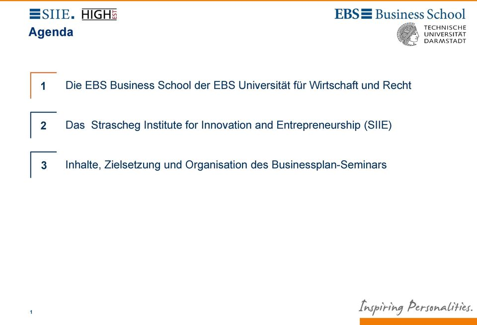 for Innovation and Entrepreneurship (SIIE) 3 Inhalte,