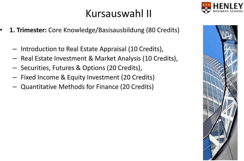Estate Appraisal (10 Credits), Real Estate Investment & Market Analysis (10