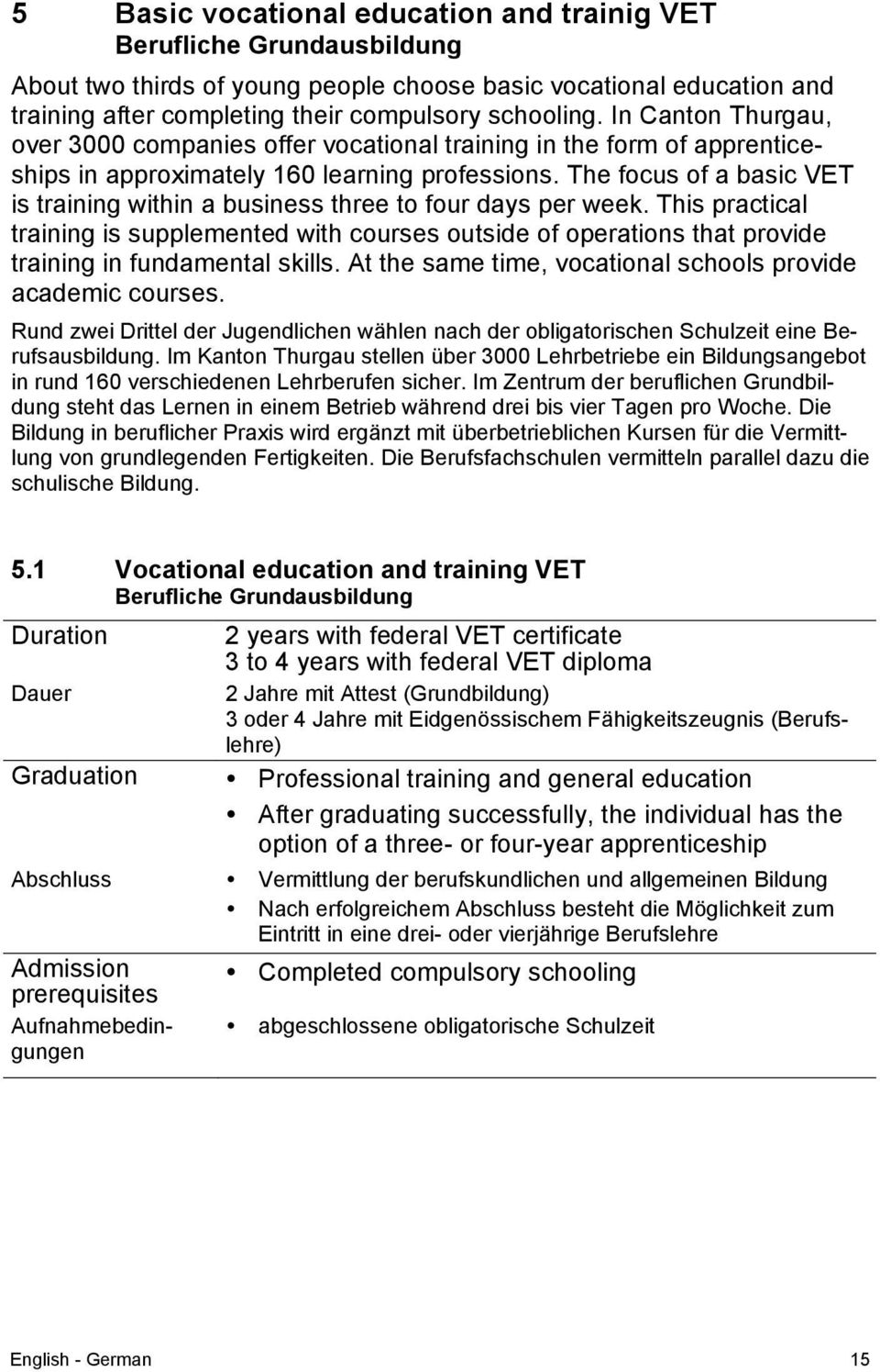 The focus of a basic VET is training within a business three to four days per week.