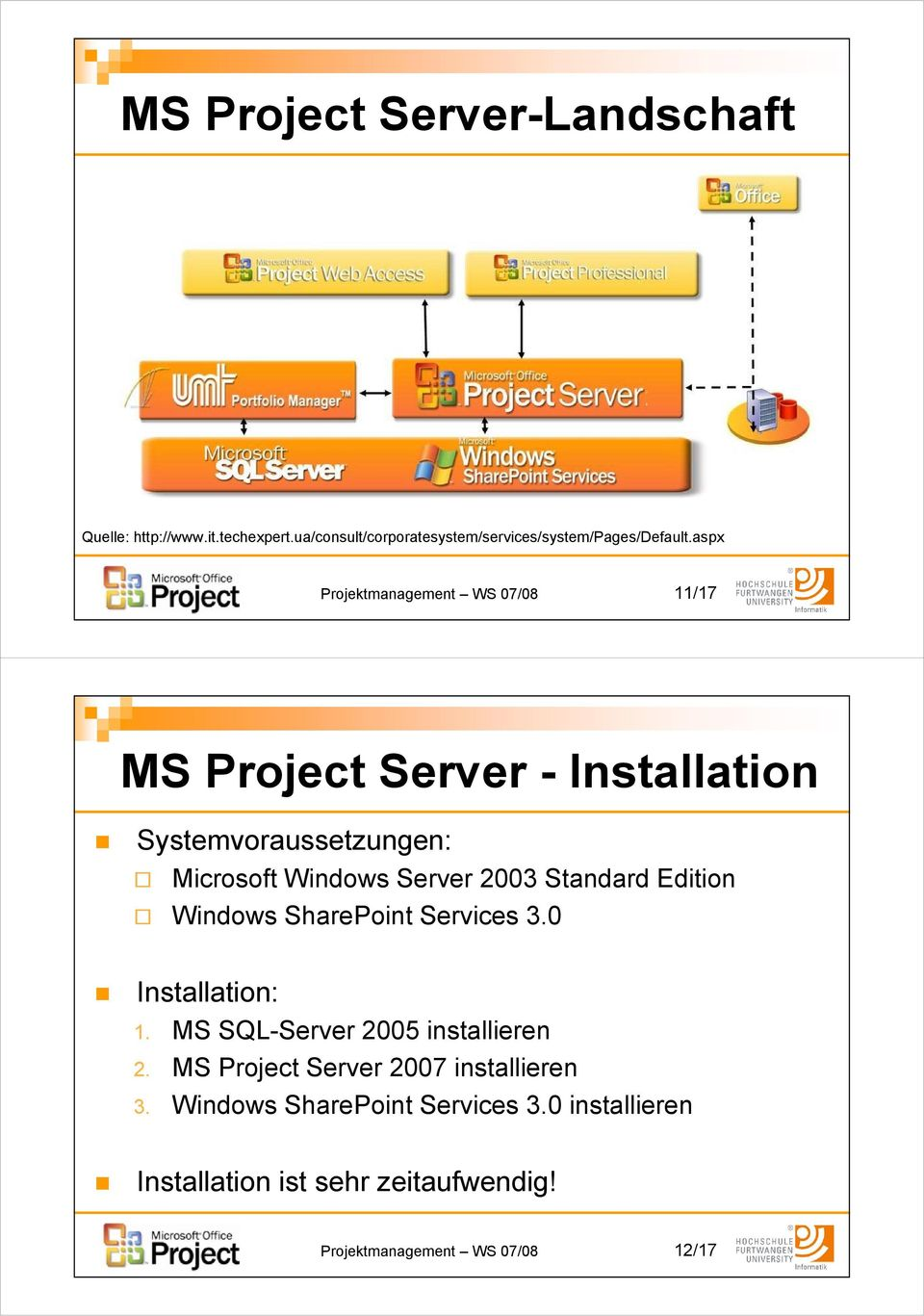 Standard Edition Windows SharePoint Services 3.0 Installation: 1. MS SQL-Server 2005 installieren 2.