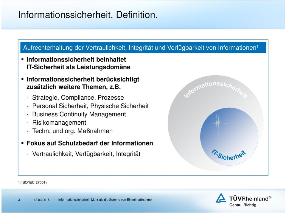 IT-Sicherheit als Leistungsdomäne Informationssicherheit be