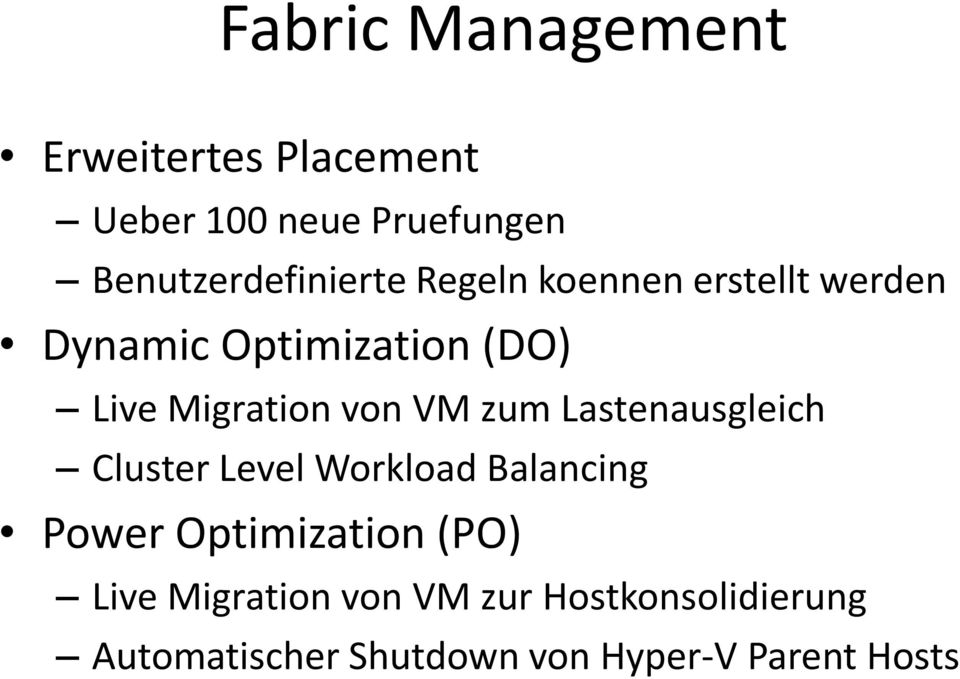 Migration von VM zum Lastenausgleich Cluster Level Workload Balancing Power