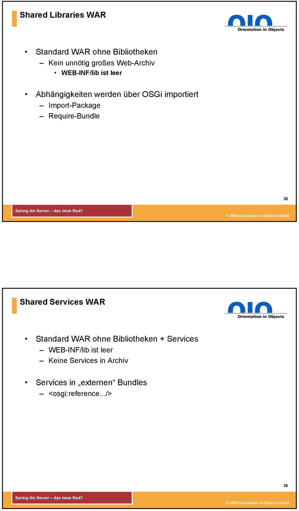 Require-Bundle 35 Shared Services WAR Standard WAR ohne Bibliotheken + Services