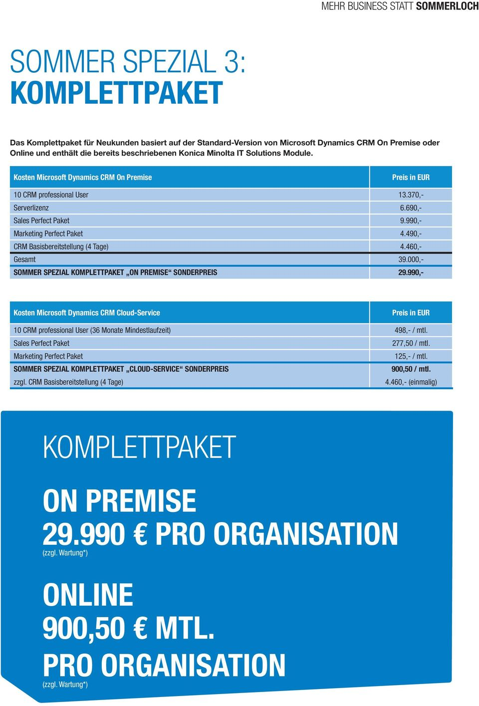 990,- Marketing Perfect Paket 4.490,- CRM Basisbereitstellung (4 Tage) 4.460,- Gesamt 39.000,- SOMMER SPEZIAL KOMPLETTPAKET ON PREMISE SONDERPREIS 29.