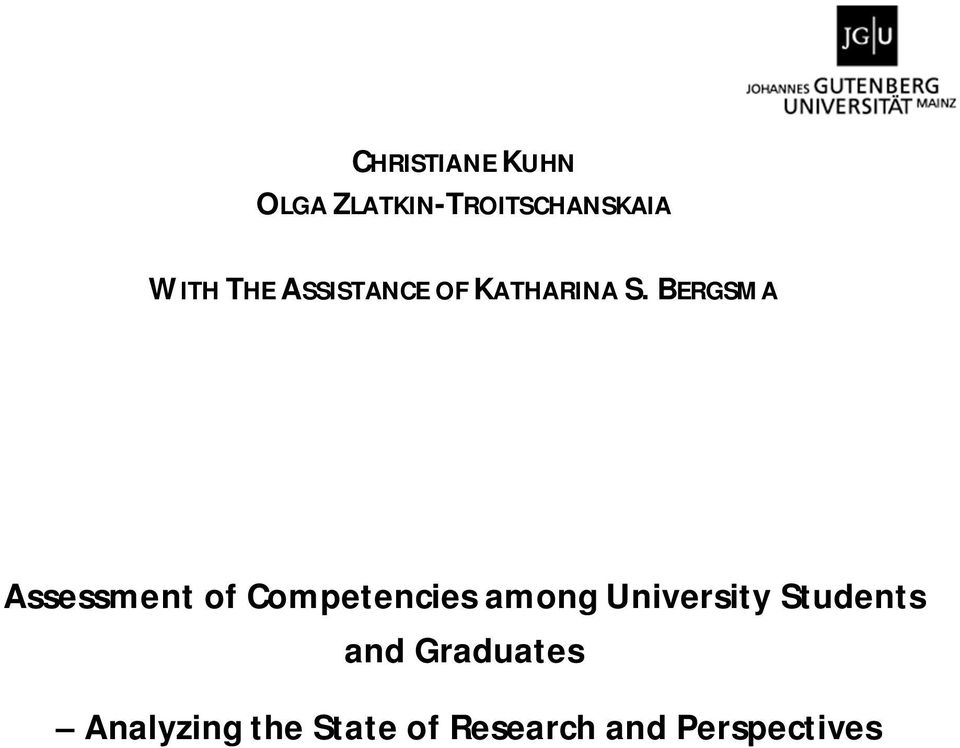 BERGSMA Assessment of Competencies among
