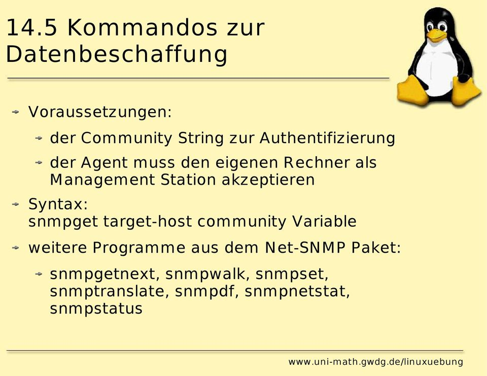 akzeptieren Syntax: snmpget target-host community Variable weitere Programme aus