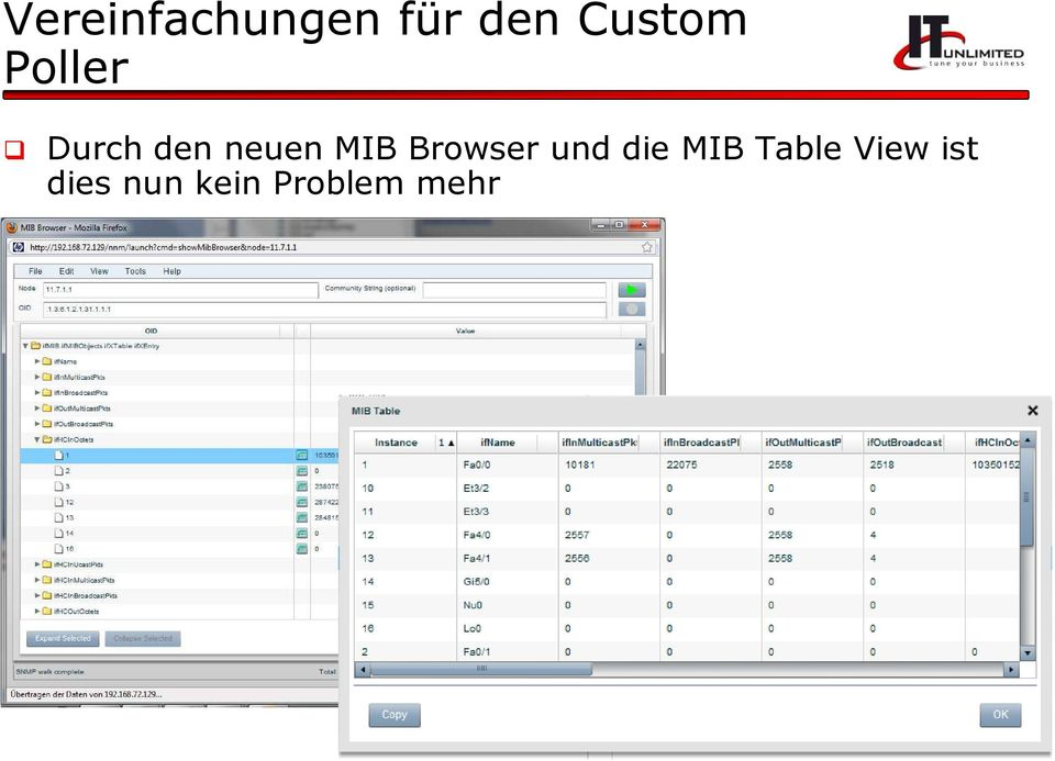 MIB Browser und die MIB Table
